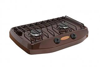 Настольная газовая плита GEFEST ПГ 702-02 1,7 кВт малое пламя 2 конфорки нержавеющая сталь коричневая