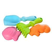 Мягкий песочный набор силиконовый игрушки для песка с лопаткой и грабельками (58305)
