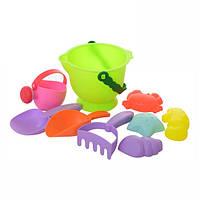 Силиконовые игрушки для песка набор с ведерком лопатками и пасочками (58306)
