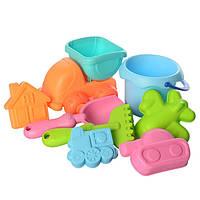 Набор в песочницу силиконовый игрушки для песка мягкие с машинкой ведерком и пасочками (58307)