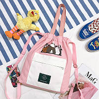 Сумка-рюкзак тканевая бело-розовая для девушек новый тренд