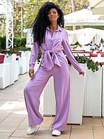 Женский брючный костюм летний красивый с блузой цвета лаванды