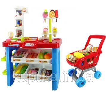 Игровой набор Супермаркет 668-22, прилавок, сканер, звук, свет, тележка, продукты (46 предметов)
