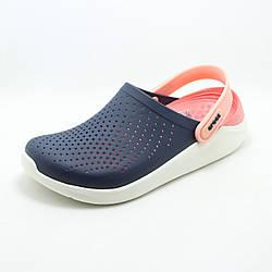 Женские кроксы сабо Crocs LiteRide Clog Navy/Melon синие