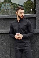 Рубашка льняная мужская летняя легкая качественная модная стильная черная, фото 1