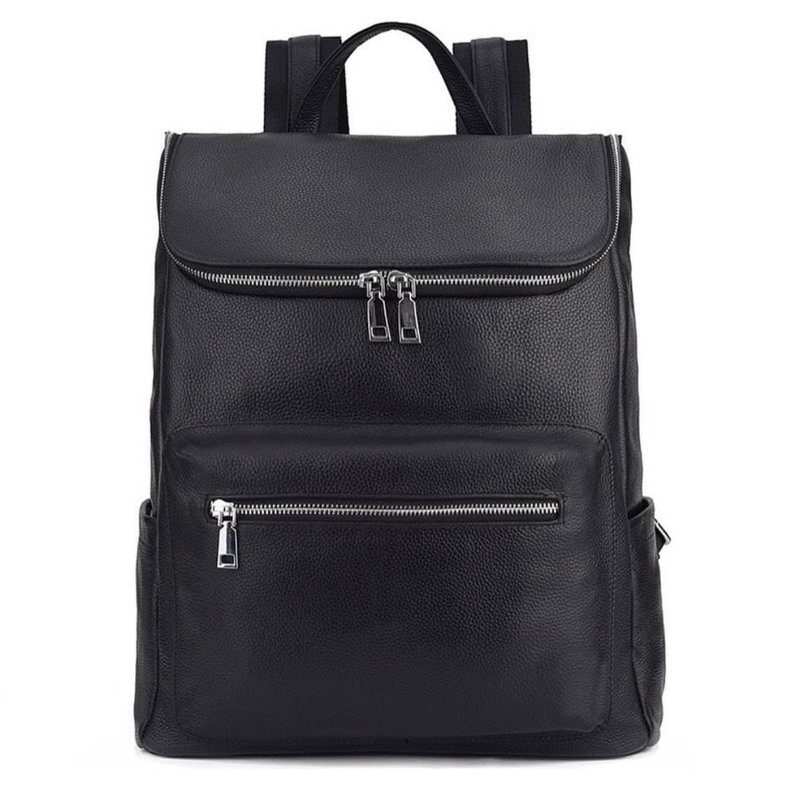 Мужской кожаный рюкзак черный городской Tiding Bag B2-21090A черный