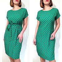 Платье женское летнее большого размера 60 свободное с поясом в горошек (60,62,64,66)
