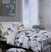Постельное белье из фланели евро размера ЛЮКС качество серая геометрия