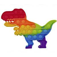 Игрушка антистресс Pop it для детей разноцветная (динозавр) FL300