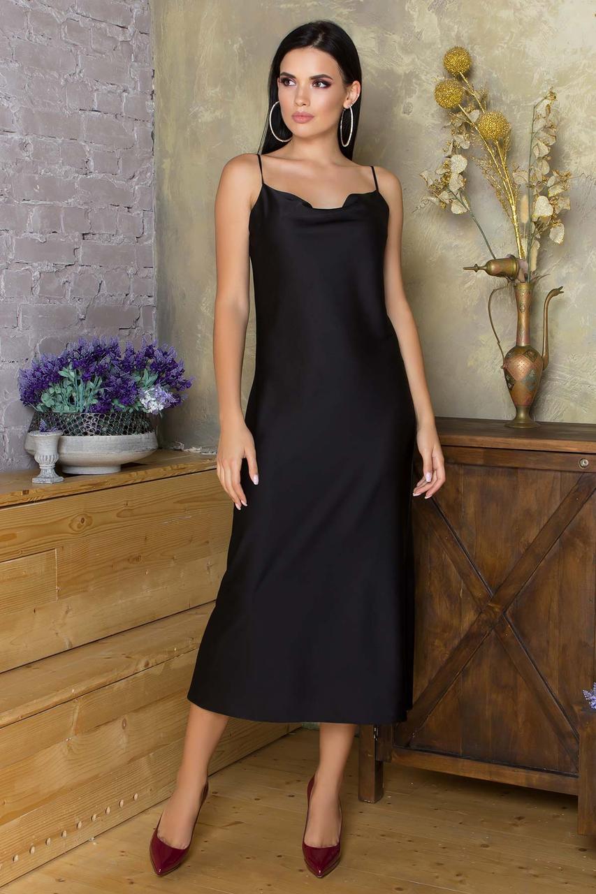 Шелковое платье-комбинация миди полуприлегающее, в бельевом стиле, шелк Армани. Черного цвета