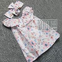 Летний комплект 104 (98) 2 -3 года для девочки сарафан и повязка девочке на девочку на лето САТИН 4726 Белый
