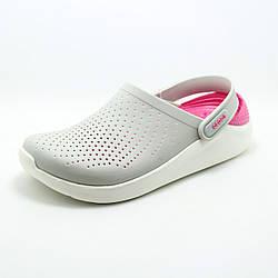 Женские кроксы/ сабо Crocs LiteRide Clog Pearl/White серые