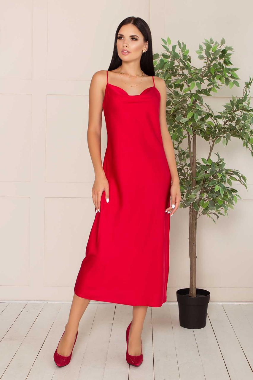 Шелковое платье-комбинация миди полуприлегающее, в бельевом стиле, шелк Армани. Красного цвета
