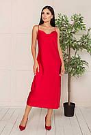 Шелковое платье-комбинация миди полуприлегающее, в бельевом стиле, шелк Армани. Красного цвета, фото 1