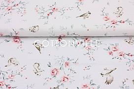 Муслин Розы, зайки, птицы 155 см