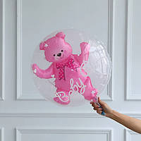 """Шар фольгированный фигурный двойной прозрачный с мишкой внутри """"Медвежонок baby girl"""" Шар в шаре, 24 дюйма, 61"""