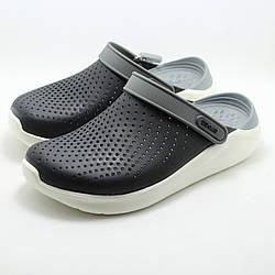 Женские кроксы сабо Crocs LiteRide Clog Black/Smoke черные