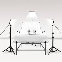 Комплект для предметной съемки LED света Tryeleec (3 x LED светильника со стойками + стол PT-0613 (60 X 130 СМ