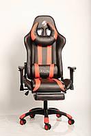 Кресло геймерское ZANO DRAGON RED c подставкой для ног компьютерное раскладное профессиональное Красное