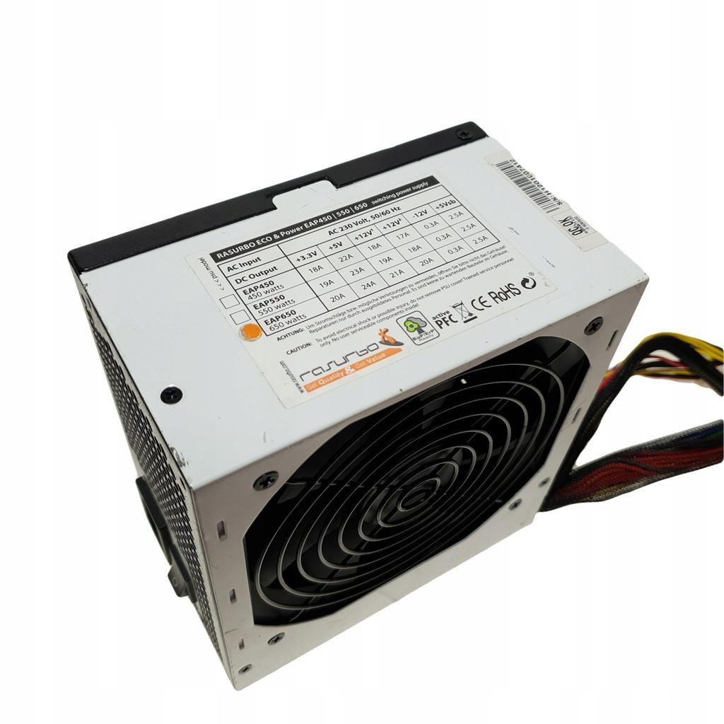 БЛОК Живлення RASURBO ( EAP550 ) на 550W ATX 24+4 pin ( процесорний) +6 PIN ( для Відеокарт) з ГАРАНТІЄЮ