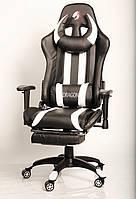 Кресло геймерское ZANO DRAGON WHITE c подставкой для ног компьютерное раскладное профессиональное Белое