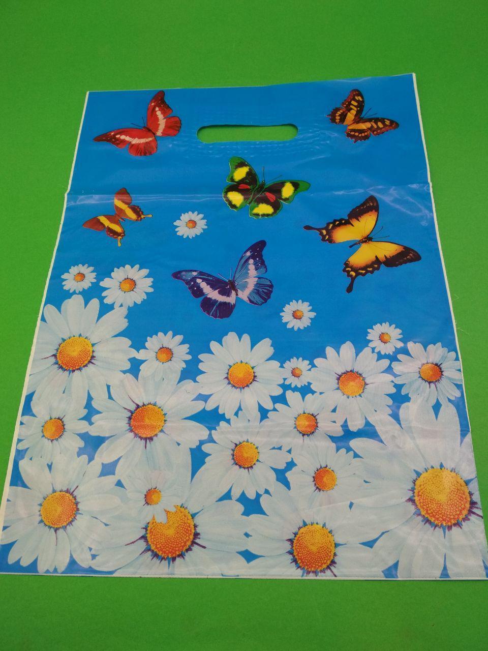 """Пакеты с вырубной ручкой (30*40,5) """"Бабочки ромашки""""  (50 шт)"""