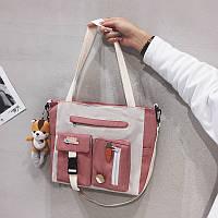 Сумка тканевая розово-белая новый тренд сумка-мессенджер (без брелка)