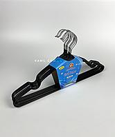 Вешалка плечики тремпеля металлические силиконовые чёрный 40 см