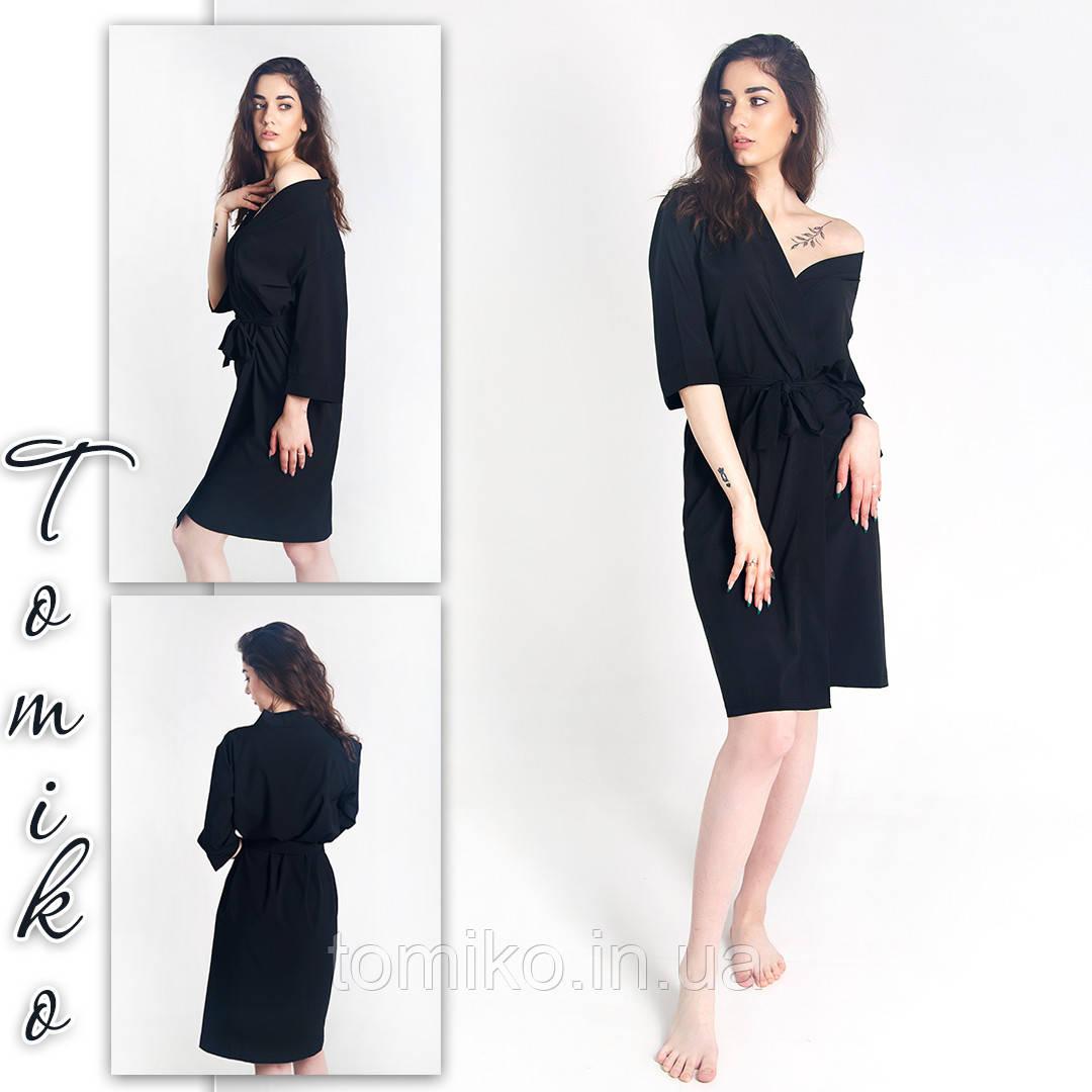 Халат шёлковый кимоно черный. Размеры 42-50.