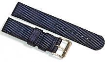 Ремешок капроновый для часов 20 мм синего цвета