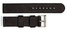 Ремінець капронову для годин 20 мм чорного кольору