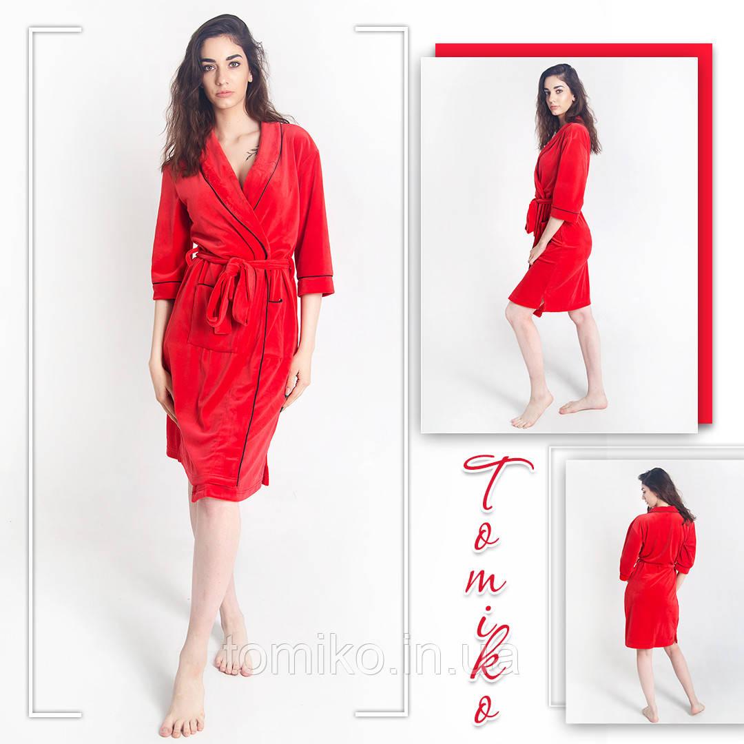 Женский халат велюровый красный с кантом М