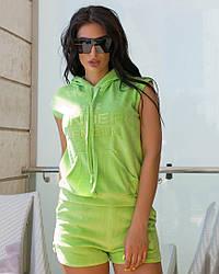 Женский летний велюровый костюм шорты+футболка