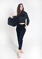 Жіночий костюм з капюшоном з плюшевого велюру колір чорний, фото 1