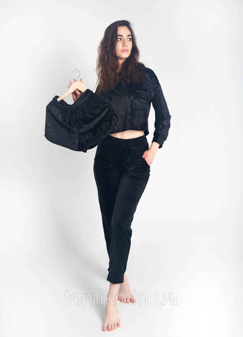 Жіночий костюм з капюшоном з плюшевого велюру колір чорний