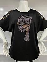 Летняя турецкая футболка большого размера с вырезом на рукавах 52-56, SV 2102