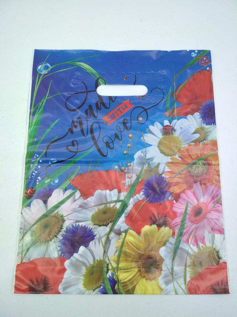 """Пакет з прорізною ручкою (30*37+3) Квіти """"Букет ромашок"""" (50 шт)"""
