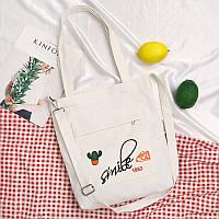 Сумка жіноча з тканини біла новий тренд сумка через плече
