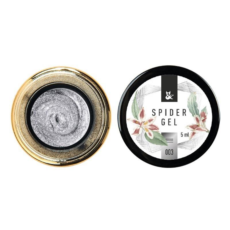 Гель для дизайна F.O.X Spider Gel №02, серебряный, 5 мл