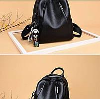 Рюкзак городской кожаный. Женский рюкзак черный из натуральной кожи (38299), фото 3
