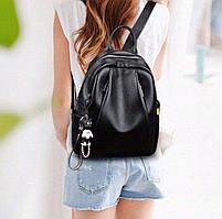 Рюкзак городской кожаный. Женский рюкзак черный из натуральной кожи (38299), фото 2