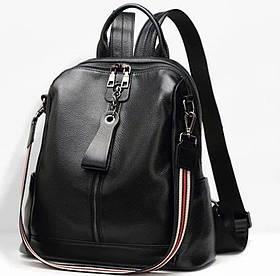 Жіночий шкіряний рюкзак міський. Рюкзак жіночий чорний молодіжний (28954)
