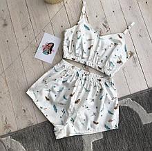 """Женская пижама для дома и сна с топом и шортами из натурального хлопка """"Невесомость"""" S"""