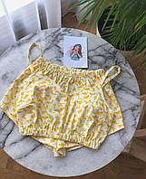 """Женская желтая пижама для дома и сна с топом и шортами из натурального хлопка """"Бананы"""""""