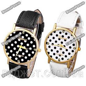 Женские часы Geneva Polka черного или белого цвета