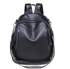 Рюкзак женский из натуральной кожи. Черный рюкзак городской кожаный (76590)