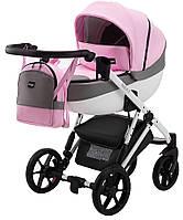 Детская коляска 2 в 1 Bair Next White кожа 100% розовый (пудра), фото 1