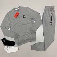 Спортивный костюм PUMA мужской свитшот LUX Реплика + носки ПОДАРОК (Размер S) Серый