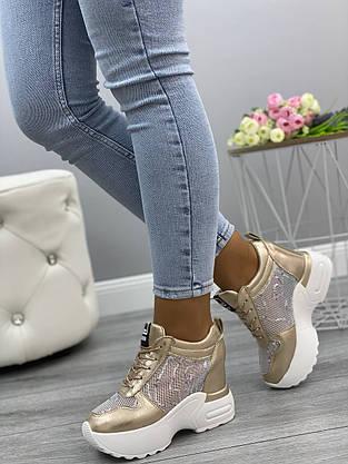 Кросівки жіночі 6 пар в ящику золотистого кольору 36-41, фото 2