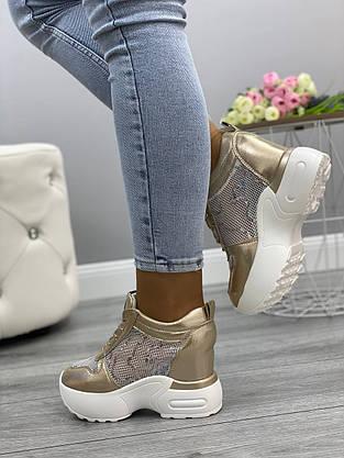 Кросівки жіночі 6 пар в ящику золотистого кольору 36-41, фото 3